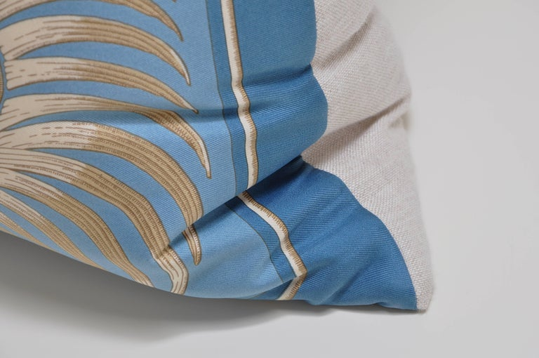 Vintage Hermes Blue Gold Tiger Silk Fabric and Irish Linen Cushion Pillow In Excellent Condition For Sale In Great Britain, Northern Ireland