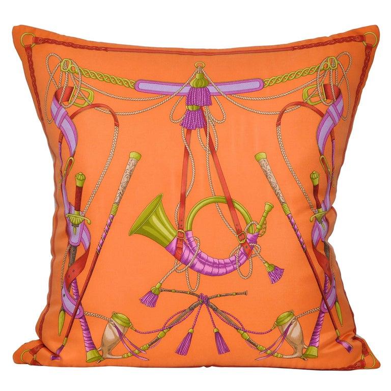 Vintage Valentino Orange Silk Fabric and Irish Linen Cushion Pillow