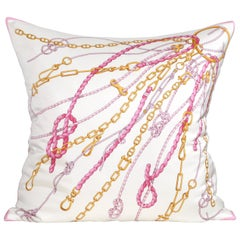 Large Gold Pink Vintage Nautical Gucci Silk Fabric Irish Linen Cushion Pillow