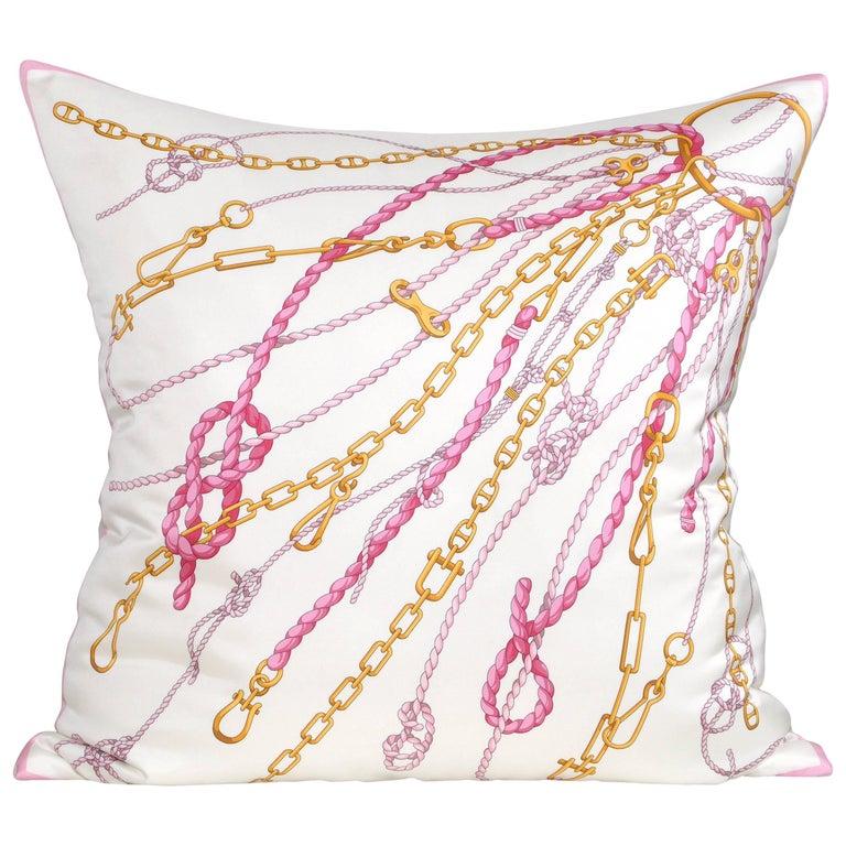 Large Gold Pink Vintage Nautical Gucci Silk Fabric Irish Linen Cushion Pillow