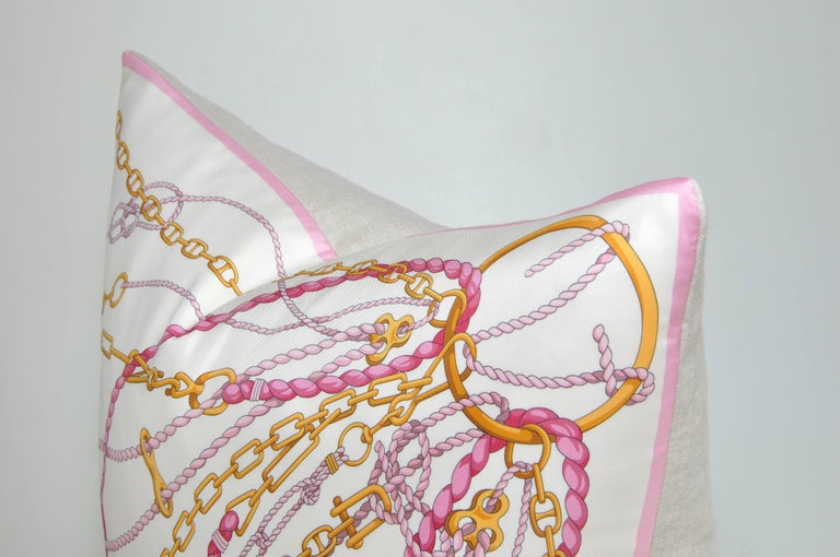 Rococo Large Gold Pink Vintage Nautical Gucci Silk Fabric Irish Linen Cushion Pillow For Sale