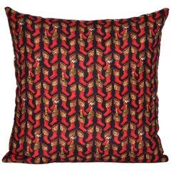 Christmas Gift, Vintage Nicole Miller Silk Fabric with Irish Linen Pillow
