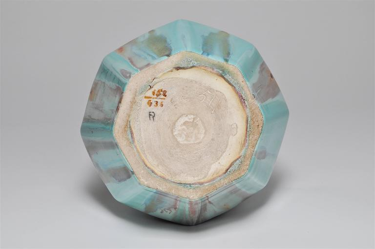 Rare French Art Deco Gabriel Fourmaintraux Desvres Pot Turquoise Ceramic Vase For Sale 4