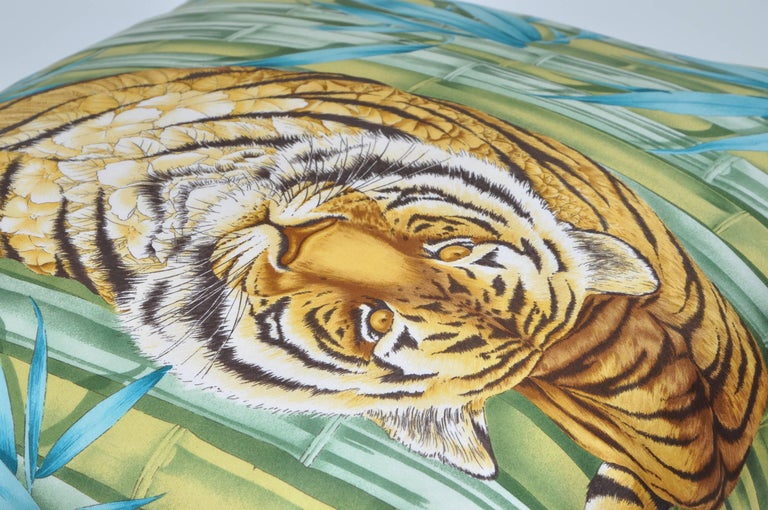 Hand-Crafted Large Vintage Tiger Blue Salvatore Ferragamo Silk Scarf and Irish Linen Pillow For Sale