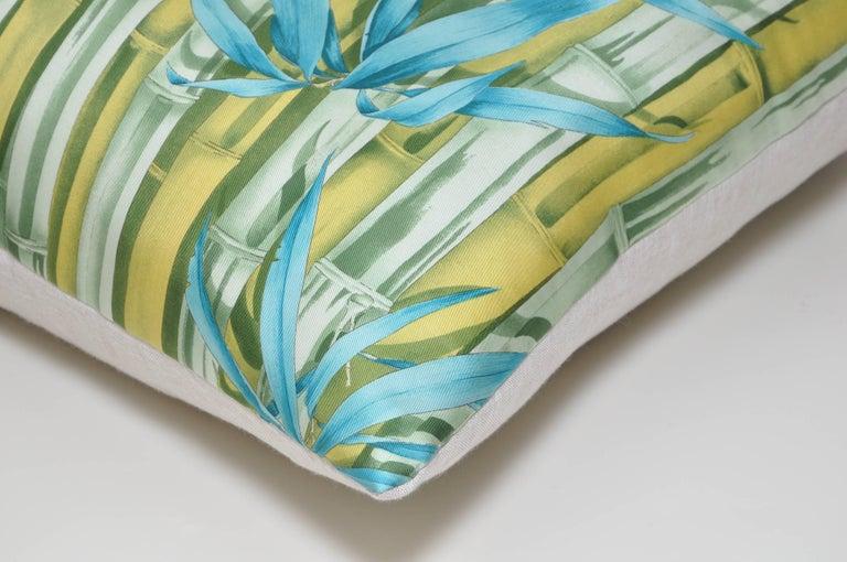 Large Vintage Tiger Blue Salvatore Ferragamo Silk Scarf and Irish Linen Pillow For Sale 1
