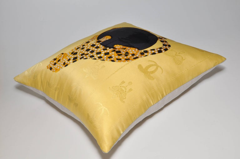 French Gold Vintage Cartier Panther Diamond Jewelry Silk Scarf Cushion Pillow For Sale