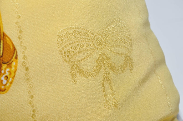 Gold Vintage Cartier Panther Diamond Jewelry Silk Scarf Cushion Pillow In Excellent Condition For Sale In Great Britain, Northern Ireland