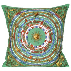 Vintage Hermes Green Gold Astrology Silk Scarf and Irish Linen Cushion Pillow