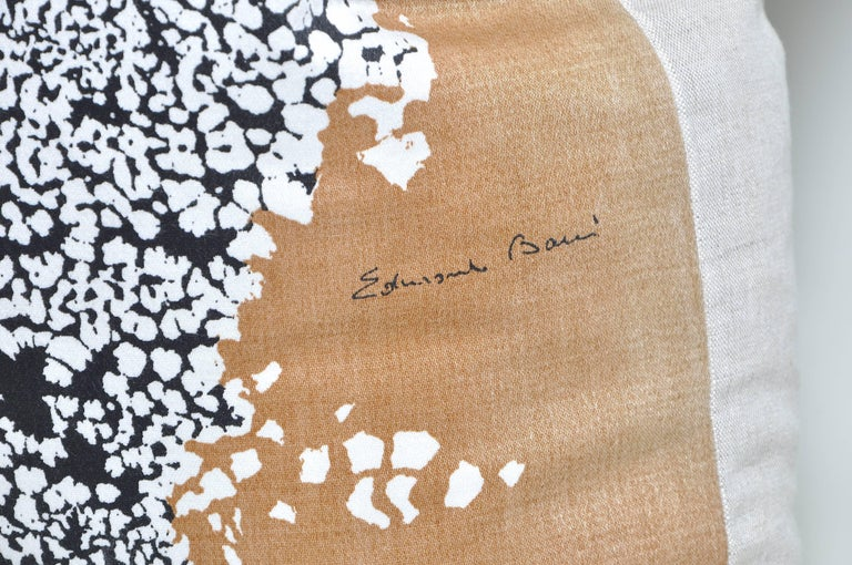 Custom-made large luxury cushion created from a rare vintage fabric by midcentury artist Edmund Bacci in an attractive abstract pattern, backed in new pure Irish linen, filled with new duck and down feather insert and a concealed zip. Italian artist