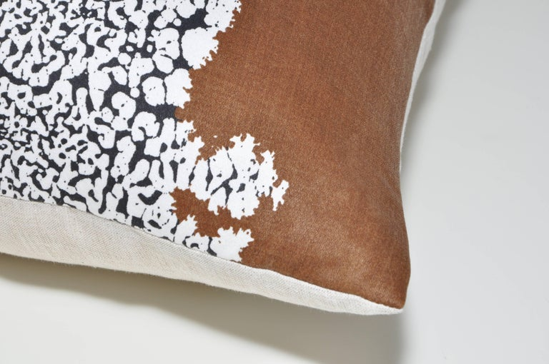 20th Century Large Vintage Artist Edmond Bacci Italian Fabric Backed in Irish Linen Pillow For Sale