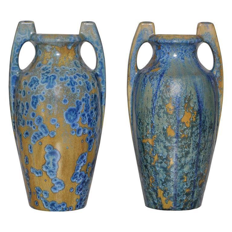Large Pair of Spectacular French Art Nouveau Crystalline Glaze Blue Antique Pots For Sale