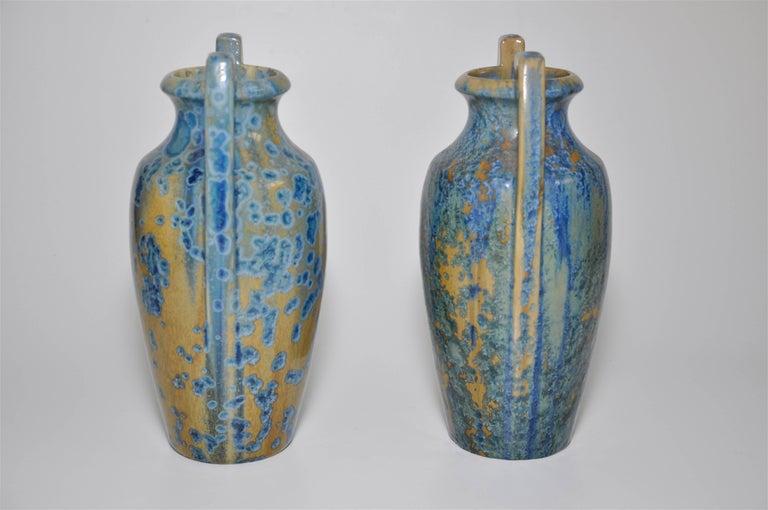 20th Century Large Pair of Spectacular French Art Nouveau Crystalline Glaze Blue Antique Pots For Sale