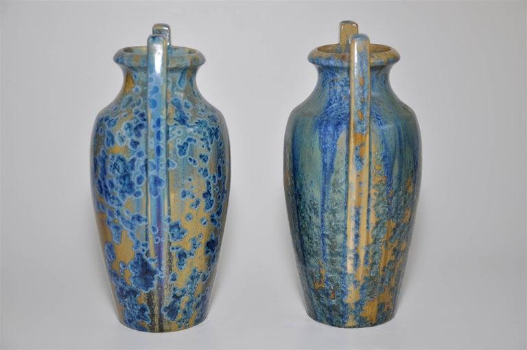 Ceramic Large Pair of Spectacular French Art Nouveau Crystalline Glaze Blue Antique Pots For Sale