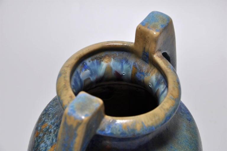 Large Pair of Spectacular French Art Nouveau Crystalline Glaze Blue Antique Pots For Sale 1