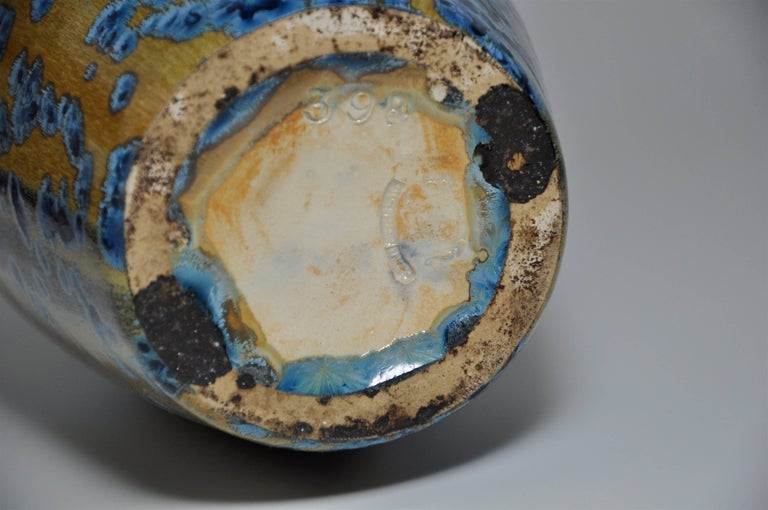 Large Pair of Spectacular French Art Nouveau Crystalline Glaze Blue Antique Pots For Sale 2