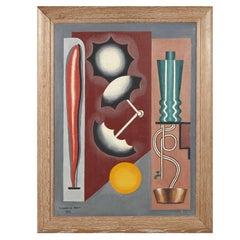 Large Cubist Oil on Canvas, France, 1932