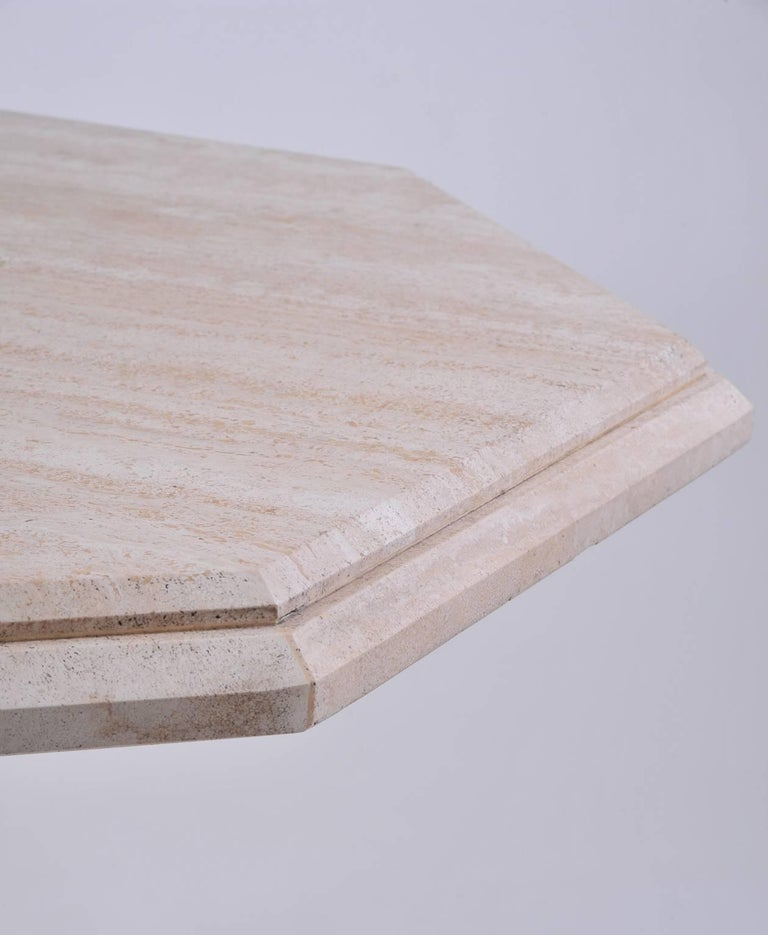 1970s Italian Octagonal Travertine Dining Table For Sale 1