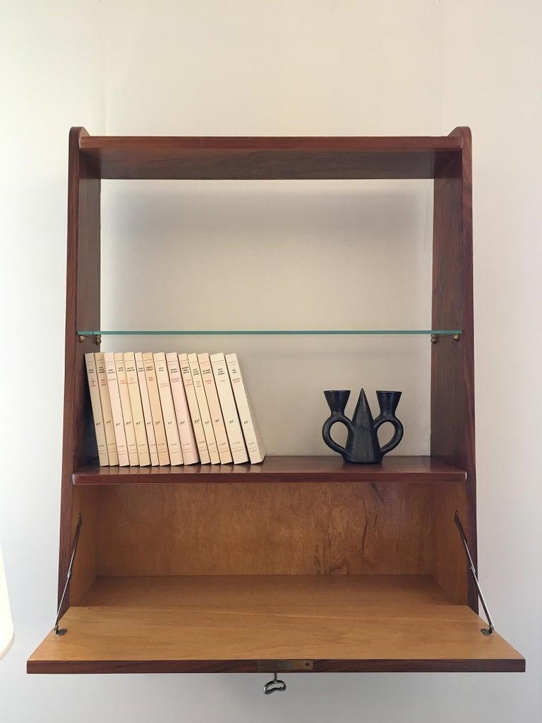 20th Century 1950s Danish Walnut Wall-Mounted Shelf Cabinet For Sale