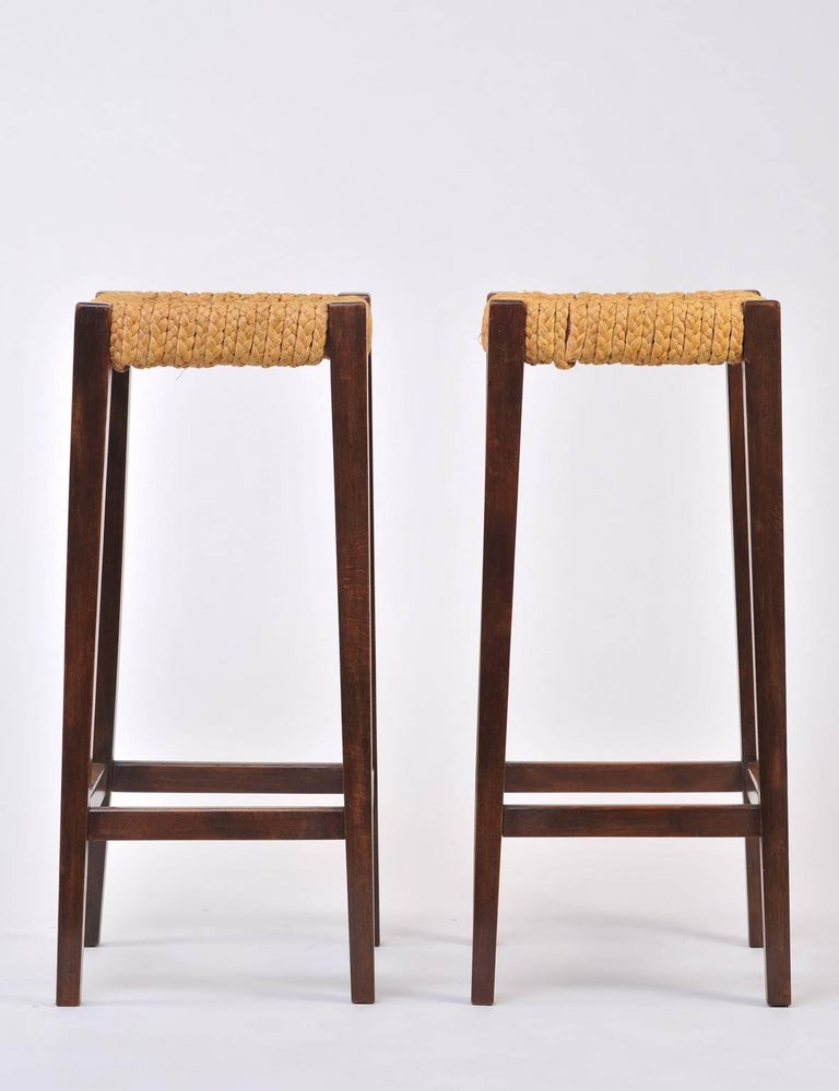 Pair of Bar Stools by Audoux-Minet 2