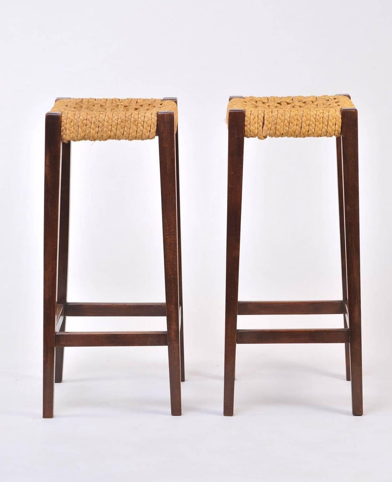 Pair of Bar Stools by Audoux-Minet 3