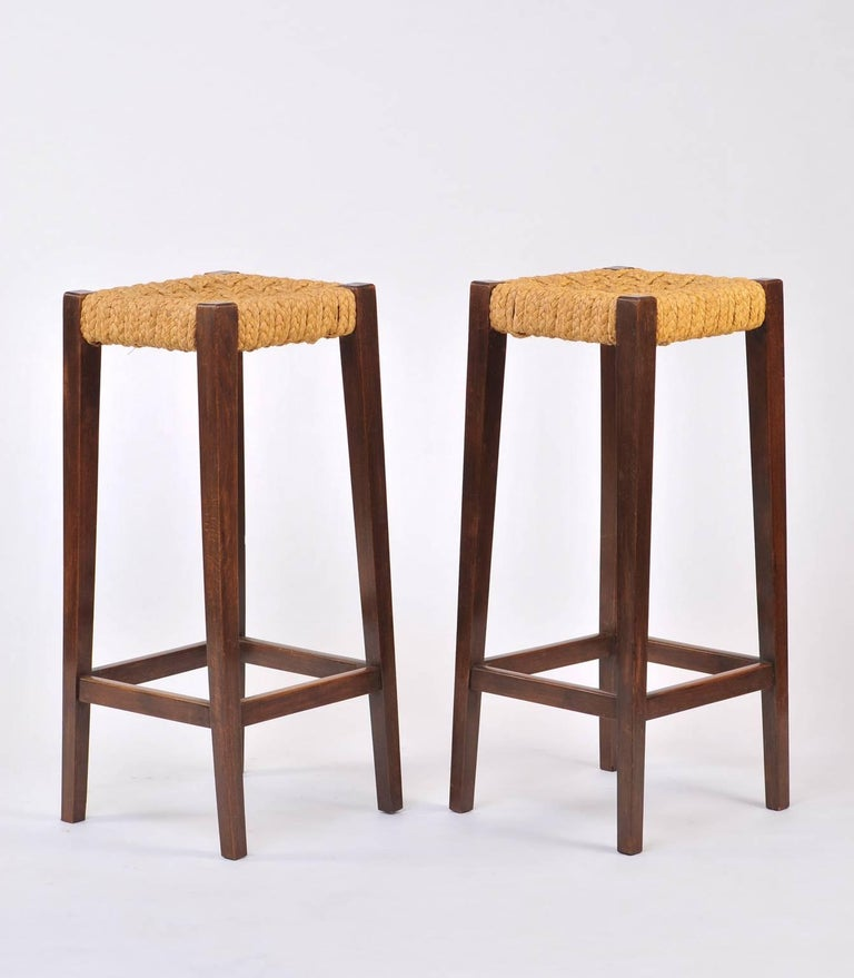 Pair of Bar Stools by Audoux-Minet 4