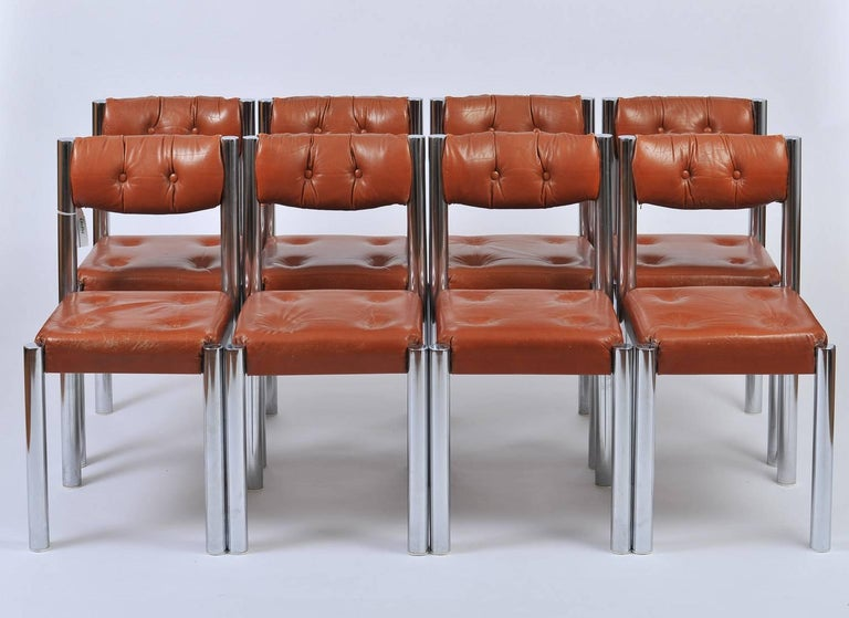 Mid-Century Modern Set of Eight French 1970s Chrome and Brown Leather Dining Chairs For Sale