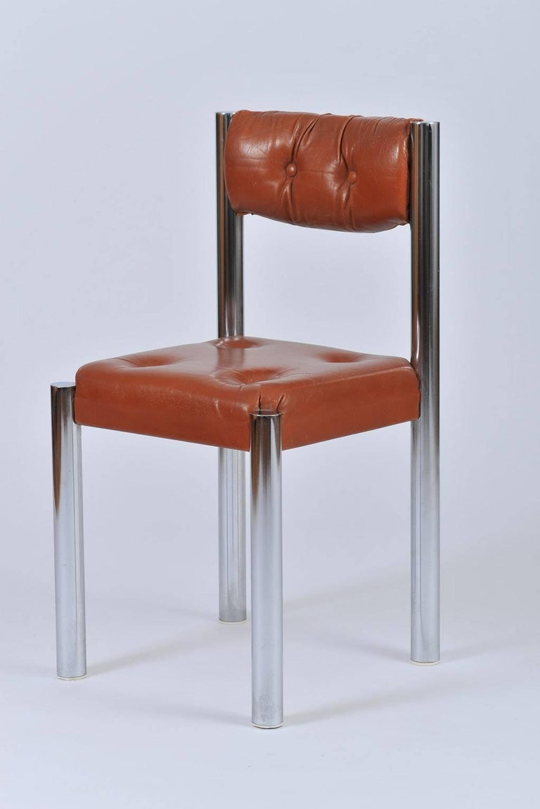 Set of Eight French 1970s Chrome and Brown Leather Dining Chairs In Good Condition For Sale In London, GB