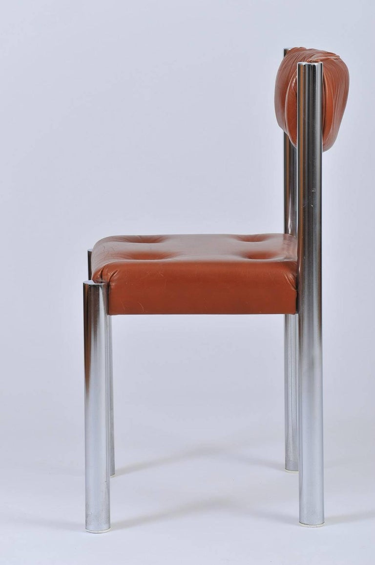 20th Century Set of Eight French 1970s Chrome and Brown Leather Dining Chairs For Sale