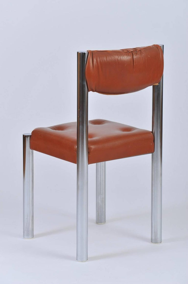 Set of Eight French 1970s Chrome and Brown Leather Dining Chairs For Sale 1