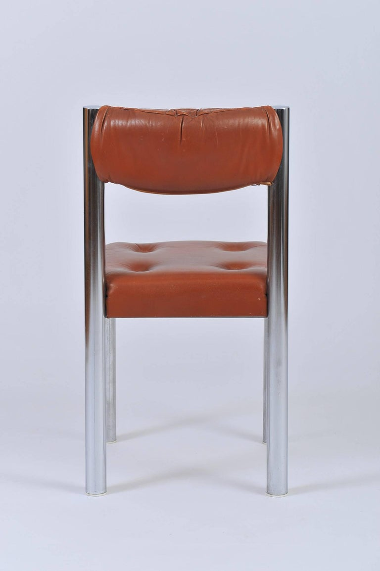 Set of Eight French 1970s Chrome and Brown Leather Dining Chairs For Sale 2
