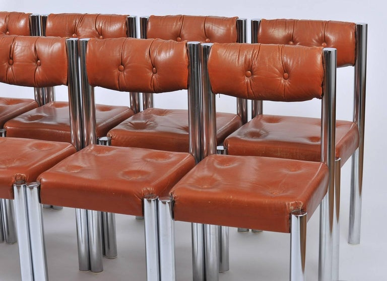 Set of Eight French 1970s Chrome and Brown Leather Dining Chairs For Sale 4
