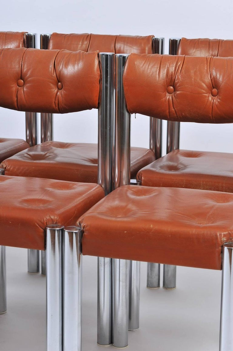 Set of Eight French 1970s Chrome and Brown Leather Dining Chairs For Sale 5