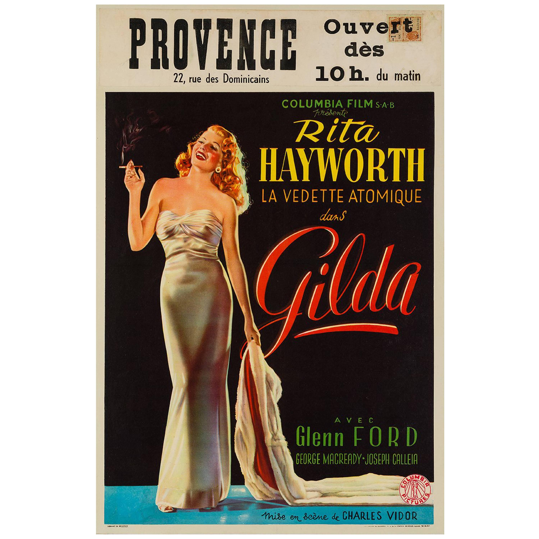 Gilda Original Vintage Belgium Film Movie Poster, 1946, Rare, Highly Collectible