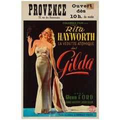 Gilda Original Vintage Belgium Film Movie Poster, 1946, Rare, Highly Collectible