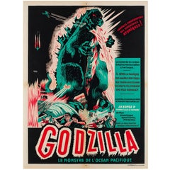 Godzilla Original French Film Movie Poster, A. Poucel, 1950s Rare Vintage