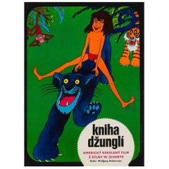 Jungle Book Original Czech Film Movie Poster, Hlavaty, 1974 Vintage Rare Disney