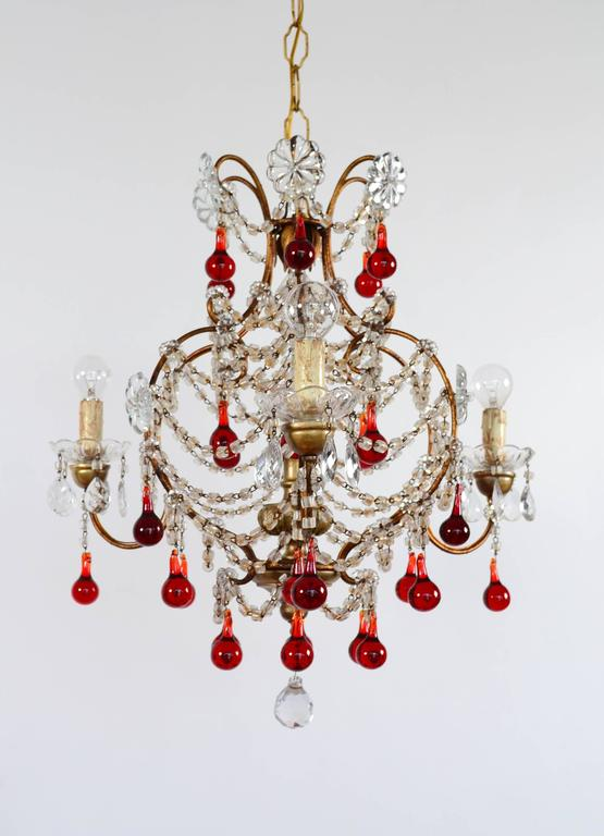 Italian murano red glass drops chandelier 1950s with four lights at beautiful italian chandelier with 30 shiny red glass drops from murano in perfect shape the mozeypictures Image collections
