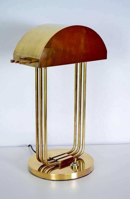 French Bauhaus Desk Lamp Signed Marcel Breuer Exposition, Paris, 1925 For  Sale
