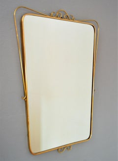 Italian Mid-Century Wall Mirror with Brass Frame and Decor, 1950s