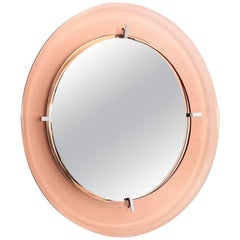 Italian Pink Rose Glass Wall Mirror from Cristal Arte, 1970s