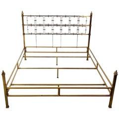 Regency Mid-Century Modern Brass Bed, 1970s
