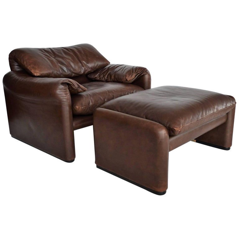 Maralunga Leather Lounge Chair and Ottoman by Magistretti, Italy, 1974