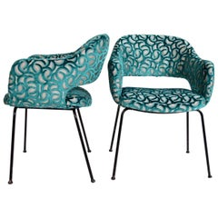 Italian Side Chairs Reupholstered in Optical Velvet, 1960s