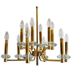 Hollywood Regency Brass and Glass Chandelier with Twelve Lights, 1960s