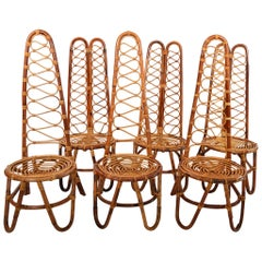 French Riviera Midcentury Bamboo Chairs, Set of Six
