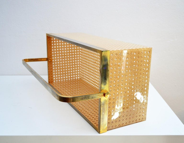 Gold Plate Italian Regency Lucite with Rattan and Gold-Plated Magazine Rack, 1970s For Sale