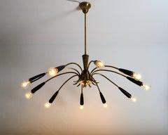 Midcentury Ten-Light Spider Chandelier in Brass, 1950s