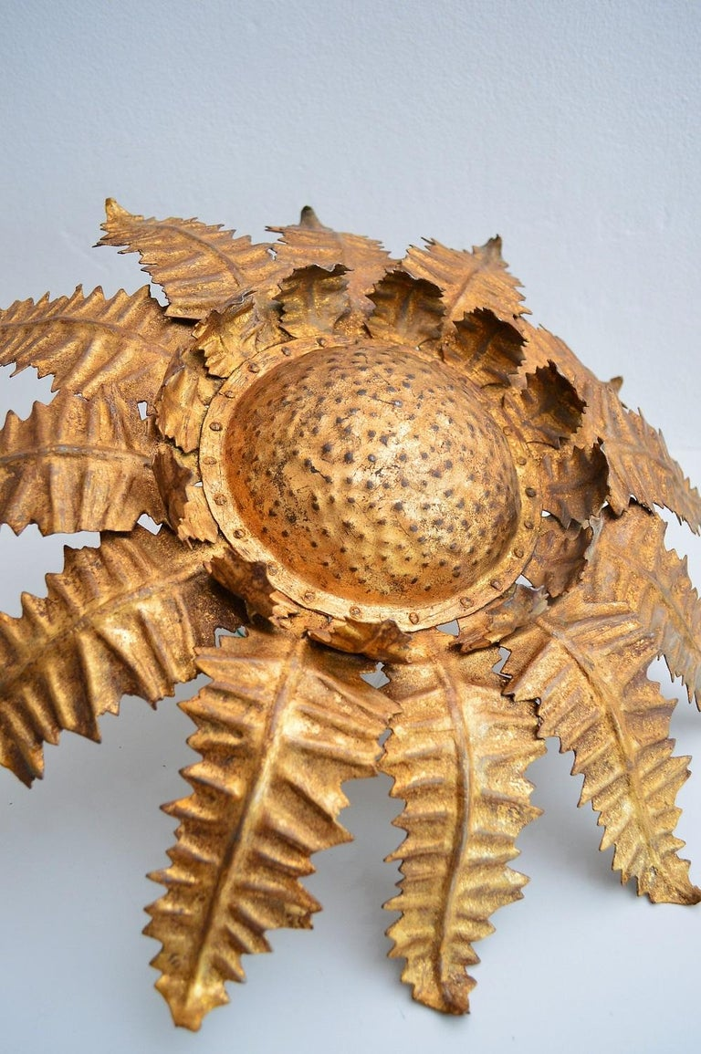Gilt Italian Golden Floral Thistle Pendant Lamp in the Hollywood Regency Style, 1960s For Sale
