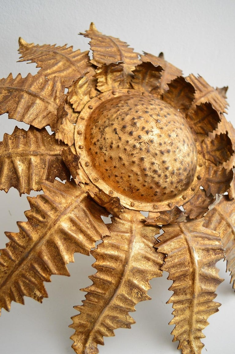 Italian Golden Floral Thistle Pendant Lamp in the Hollywood Regency Style, 1960s For Sale 1