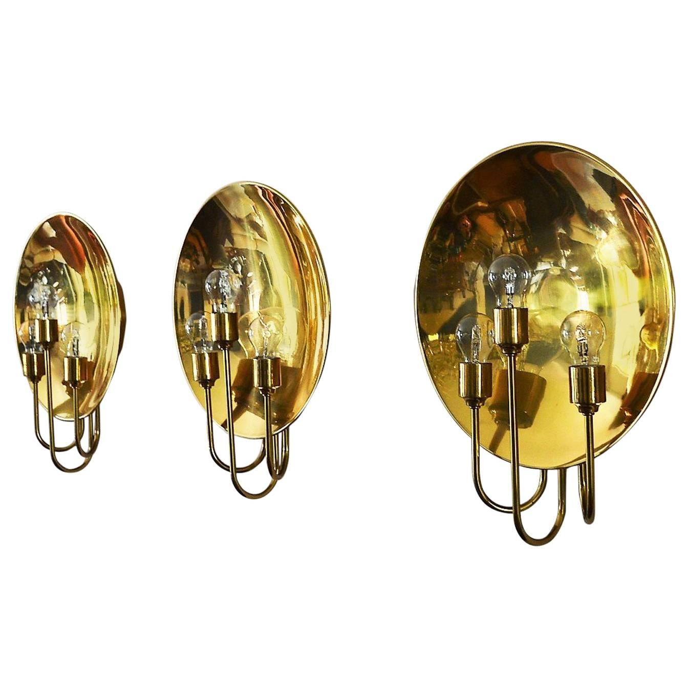 German Midcentury Brass Wall Lights or Sconces by Florian Schulz, 1970s